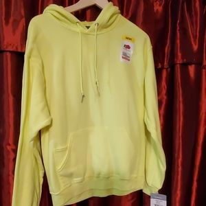 NWT Fruit of the Loom Neon Yellow Hoodie